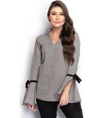 camisa camisete feminina xadrez manga flare laço casual - feminino