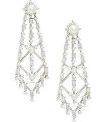 adriana orsini women's tessa white rhodium-plated, cubic zirconia & glass pearl drop earrings