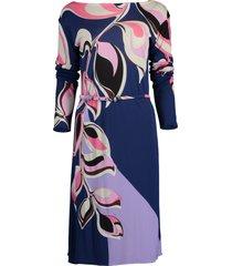 belted boatneck print dress