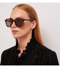 saint laurent women's square tortoise shell acetate sunglasses - havana/green
