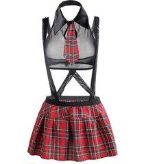 bow tie plaid halter suspender plus size schoolgirl lingerie costume