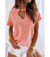 camiseta de manga corta con cuello en v y diseño liso
