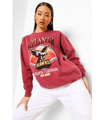 oversized overdye sweater met print, donkerrood