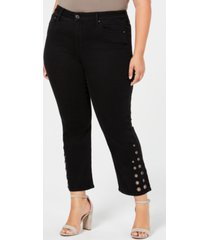 seven7 trendy plus size lace-up bootcut jeans
