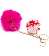 llavero pelusa rosa color rosado, talla uni