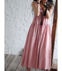 donna casual vestito sciolto senza maniche in colore a tinta unita