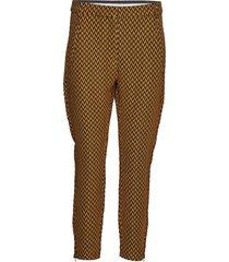 pants in stretch jacquard - stella pantalon met rechte pijpen bruin coster copenhagen