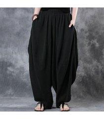 zanzea mujer de algodón de lino pierna ancha pantalones elásticos de la cintura de la vendimia sólido ocasional pantalones anchos harem pantalones de la linterna de gran tamaño negro -negro