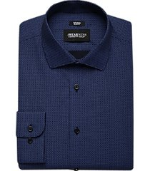 awearness kenneth cole navy print slim fit dress shirt