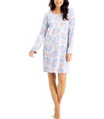 charter club printed cotton long sleeve nightgown, created for macy's