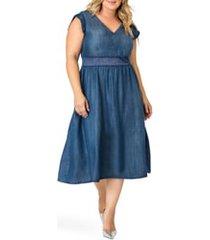 plus size women's standards & practices rosaleen a-line dress, size 22w - blue
