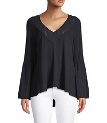 high-low cotton-blend top