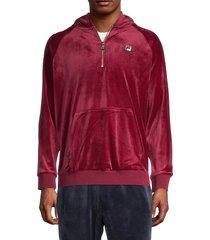 fila men's hooded velour jacket - red - size s