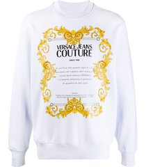 versace jeans couture logo-print sweatshirt - white