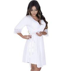 robe estilo sedutor em microfibra e renda com manga branca - vf45 - kanui