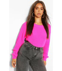 crop top met crewneck, roze