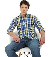 camisa los caballeros manga larga leñadora cuadros amarillos, blancos y azules