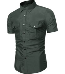 pure color flap pockets slim fit cargo shirt