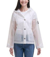 calvin klein jeans gingham-print hooded rain coat