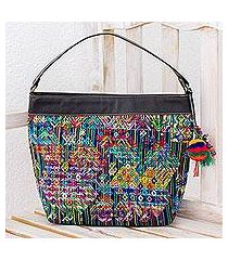 cotton and leather accent shoulder bag, 'nahuala viva' (guatemala)