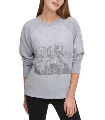 dkny rhinestone cityscape sweatshirt