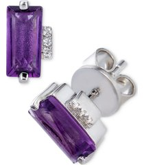 amethyst (2 ct. t.w.) & white topaz accent stud earrings in stering silver (also available in sky blue topaz & rhodolite garnet)