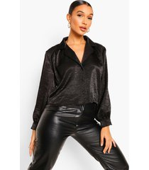 geplet satijnen oversized boxy blouse, black