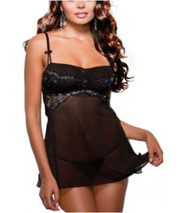 icollection women's ultra soft metallic laced mesh 2 piece babydoll with adjustable straps