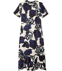 flounced dress in roma print