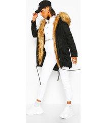 boutique faux fur trim parka, black