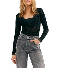 women's free people intimately fp babes 'n bandeaus long sleeve thong bodysuit, size x-large - black