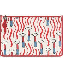 lipstick print leather large pouch