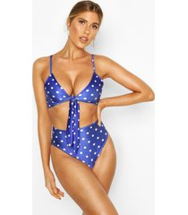 polka dot tie front high waist triangle bikini, blue