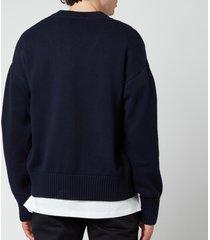 ami men's oversized de coeur logo cardigan - navy - xl