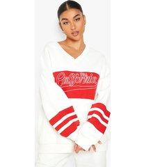 colour block california sweater met v-hals, red