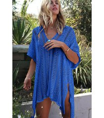 vestido de playa/beach cover up bikini de punto ganchillo-azul