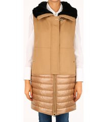 fay quilted vest camel