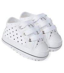 tênis bebê poá branco com preto (m/g) - baby soffete - tamanho m - branco,preto