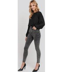 na-kd high waist raw hem skinny jeans - black,grey