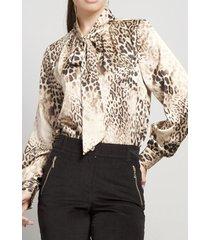 blusa satin leopardo beige rebelde liola