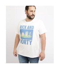 camiseta masculina plus size rick and morty manga curta gola careca branca