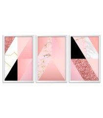 conjunto kit 3 quadro oppen house s 60x120cm escandinavo gefion com vidro e moldura branca      quadro oppen house s decorativos