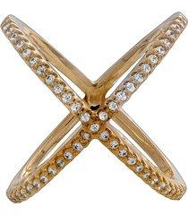anel duplo x cruzado drusi semi joias zircônias dourado