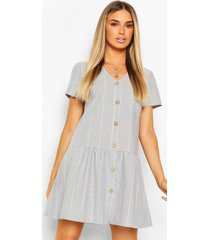 linen stripe button detail smock dress, pastel blue