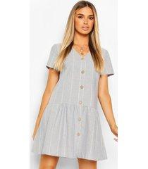 linnen gestreepte gesmokte jurk met knoopjes, pastelblauw