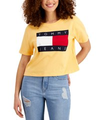tommy jeans cotton flag logo cropped t-shirt