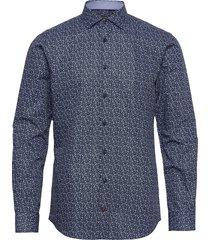 mini floral print slim shirt skjorta casual blå tommy hilfiger tailored