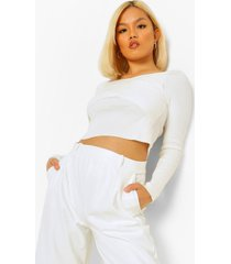 petite korte gebreide wikkel trui, white