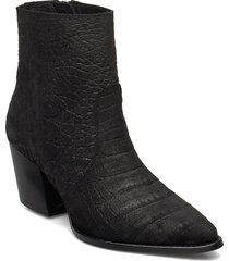 slfjulie suede croco boot b shoes boots ankle boots ankle boots with heel svart selected femme