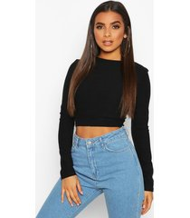 layered contrast super soft ribbed long sleeve top, black